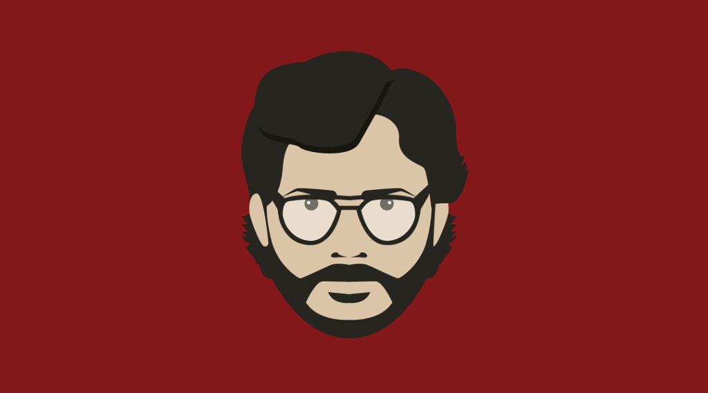 professor de emoji de fundo vermelho com óculos