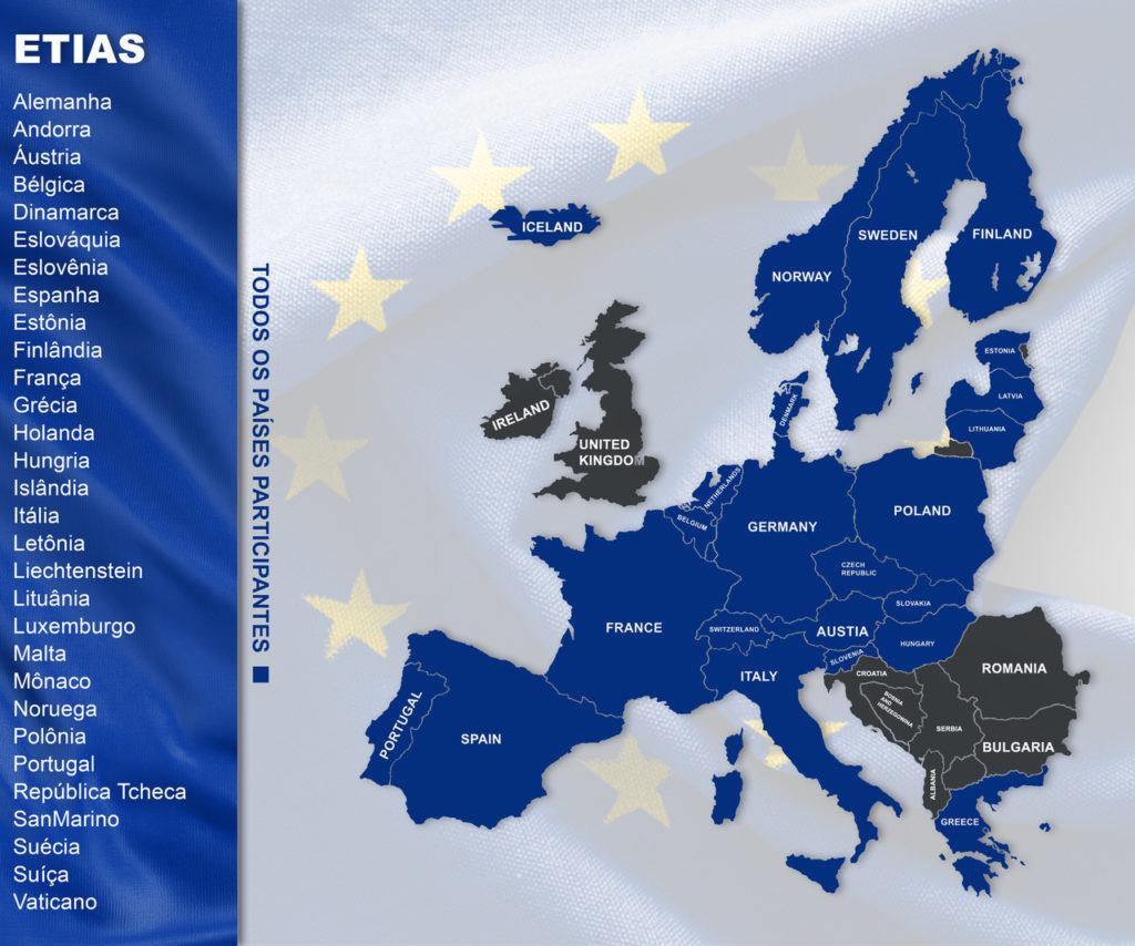 mapa europeu com os países participantes no ETIAS. Seguro Viagem Europa