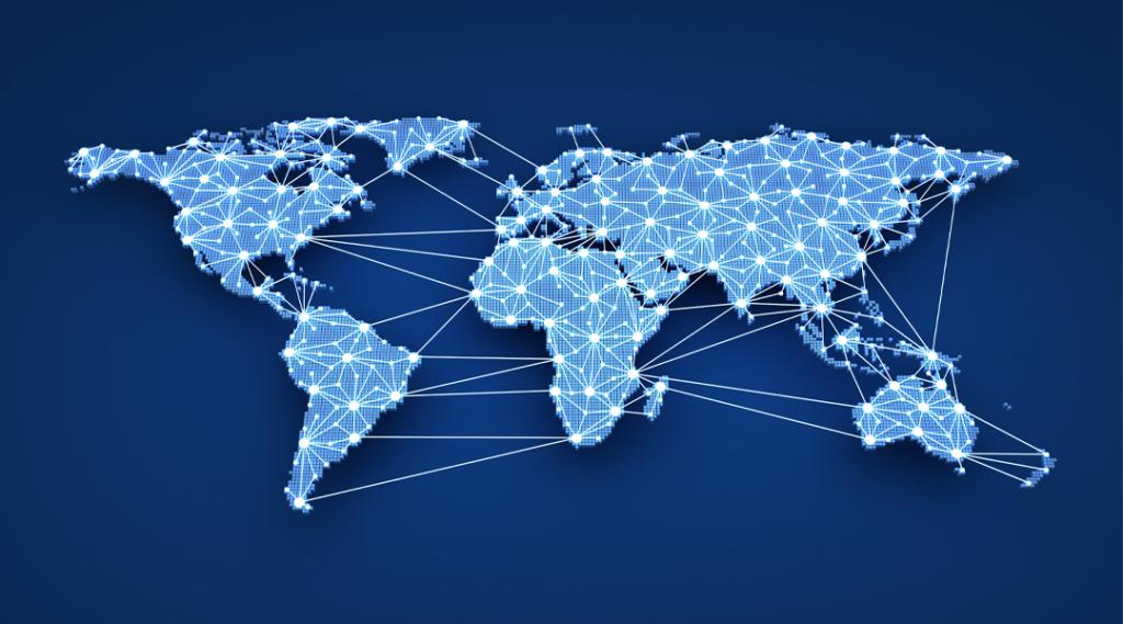 Web mundial sobre fundo azul (feito em 3d)