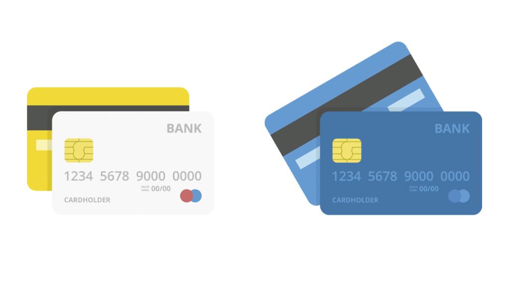 Ilustrações de cartões de crédito. Vista frontal e traseira.