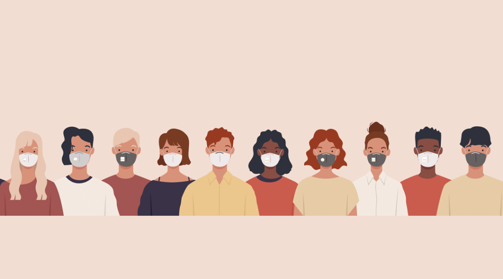 Grupo de pessoas usando máscaras médicas para prevenir doenças, gripe, poluição do ar, ar contaminado, poluição mundial. Ilustração vetorial em um estilo simples