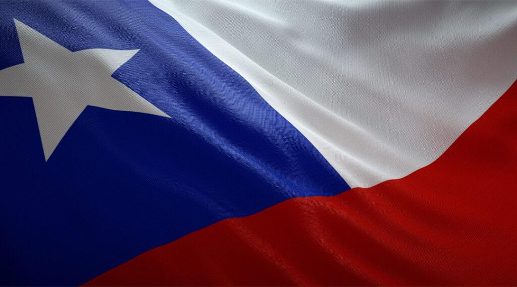 Bandeira oficial do Chile. Banner da Web. Seguro viagem