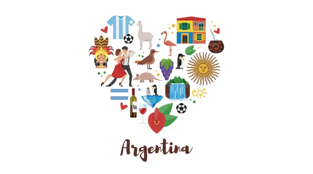 Composição de forma de coração estilo plano Vector da Argentina símbolos culturais nacionais. Modelo para banner ou cartaz para turistas. Isolado em fundo branco. Seguro viagem argentina