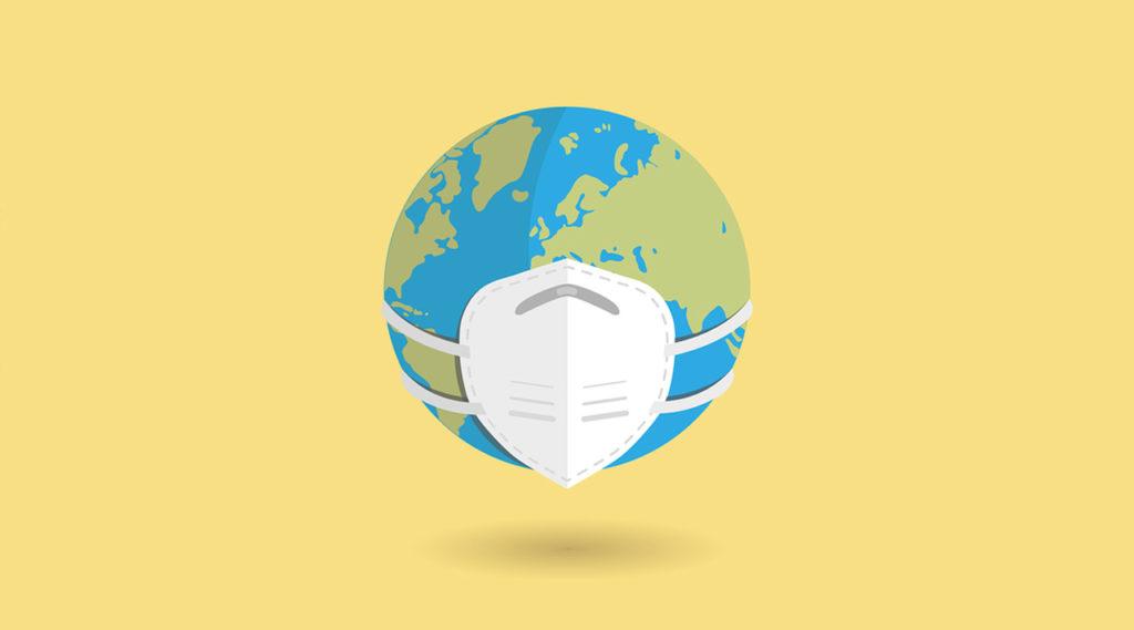 desenho do planeta terra utilizando máscara. Seguro viagem tem cobertura na pademia