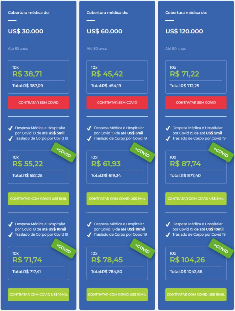 imagem com valores do seguro viagem vital card para os estados unidos período de 10 dias